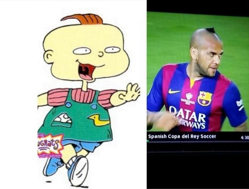 O cabelo do lateral brasileiro foi comparado ao das gêmeas Rugarts, personagem de desenho da Nickelodeon
