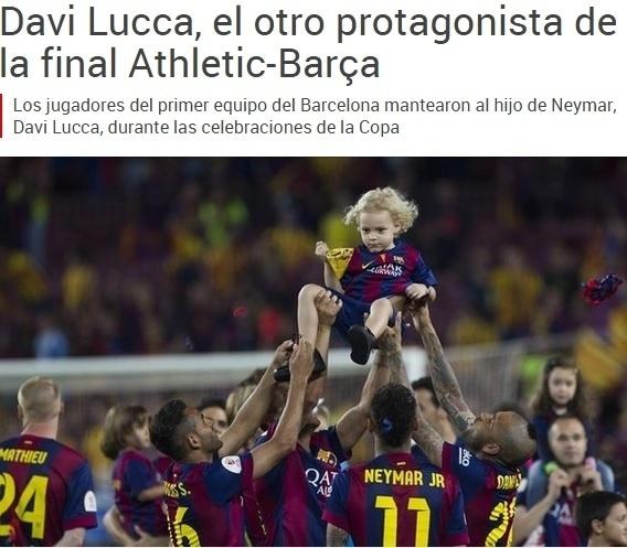 O filho de Neymar foi carregado pelos jogadores do Barcelona e virou matéria da imprensa espanhola