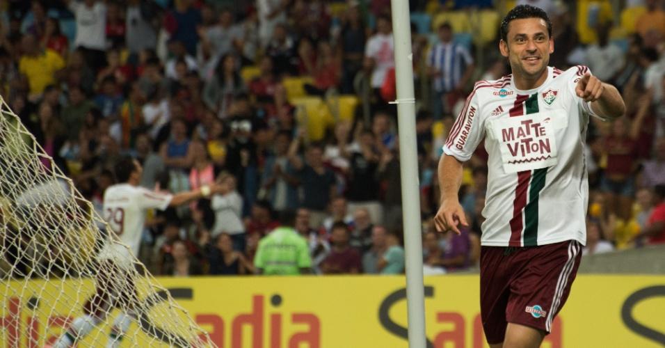 Fred comemora seu segundo gol na partida contra o Flamengo