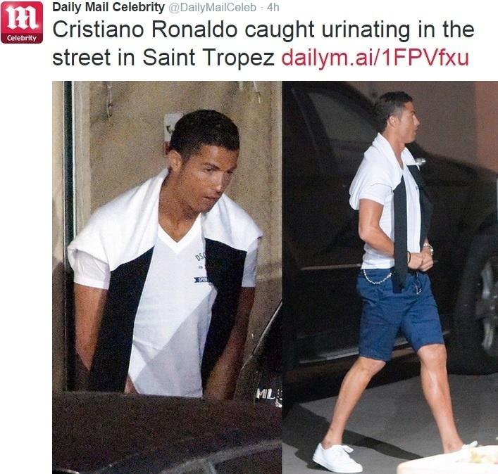 Em férias em saint tropez, Cristiano Ronaldo foi fotografado urinando na rua