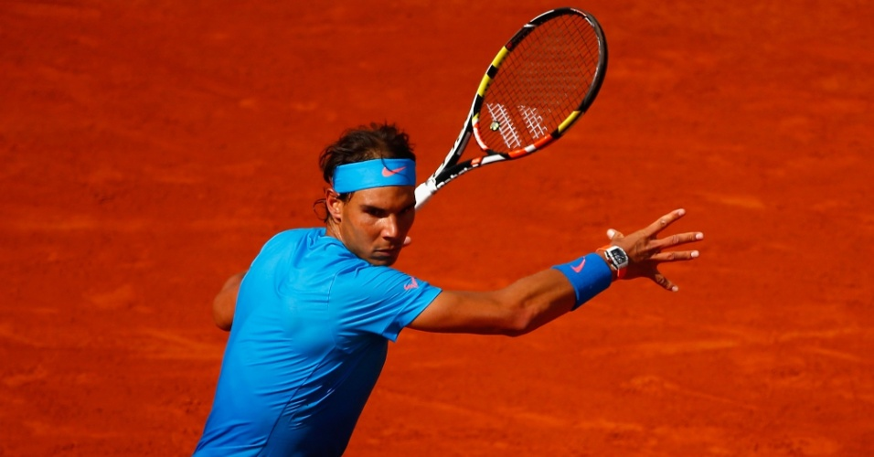 Rafael Nadal contra Jack Sock em partida das oitavas de final de Roland Garros