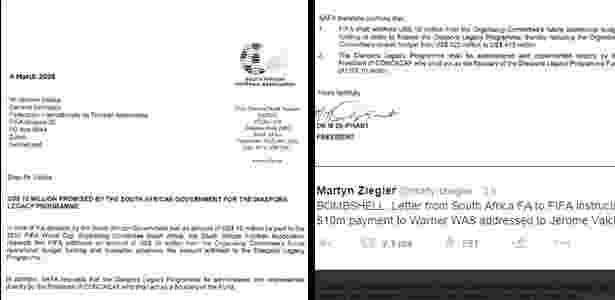 Jornalista britânico divulga carta que mostra que Jerome Valcke sabia de repasse da África do Sul para a Concacaf - Reprodução/Twitter
