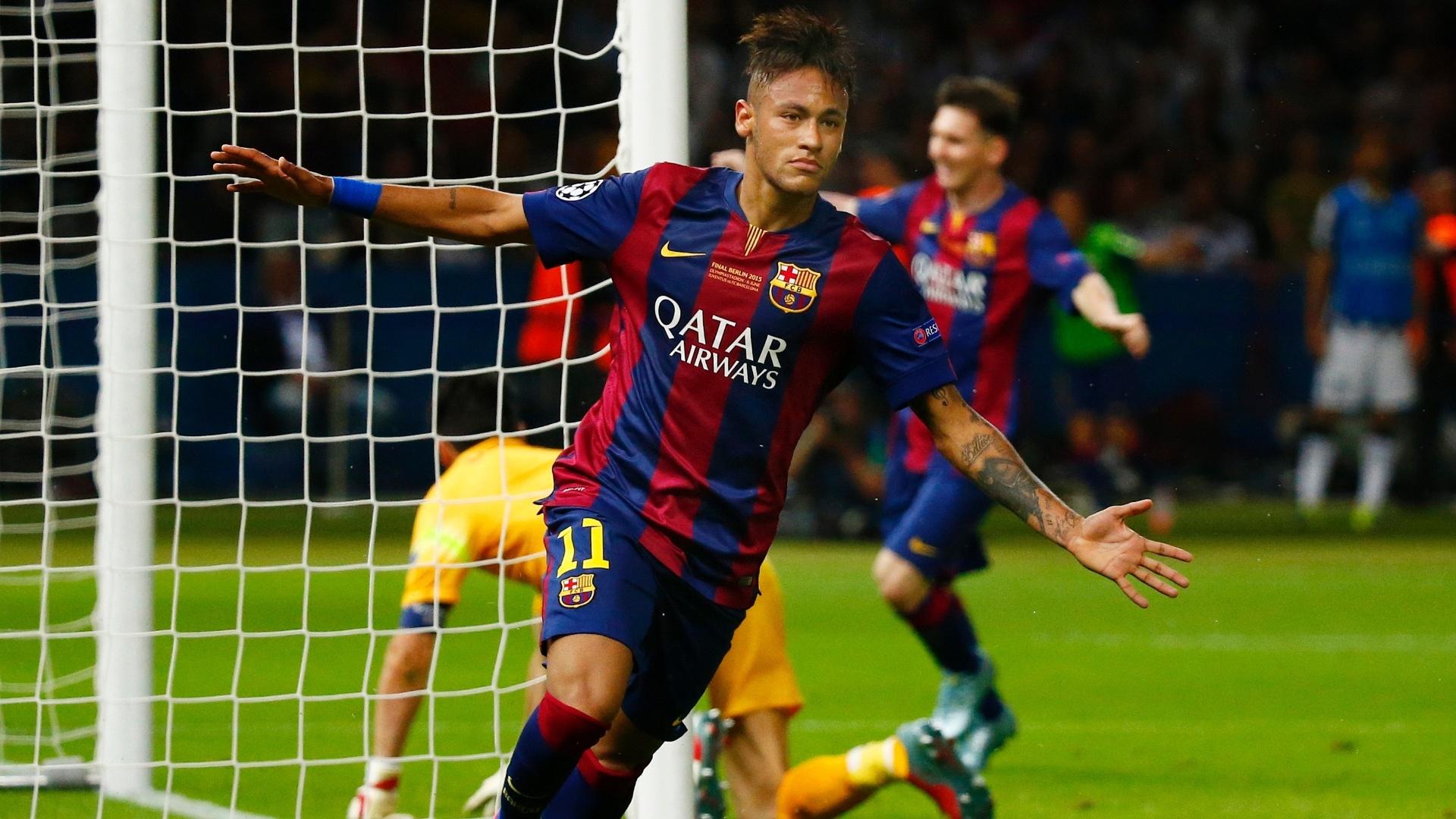 Neymar comemora gol do Barcelona na final da Liga dos Campeões