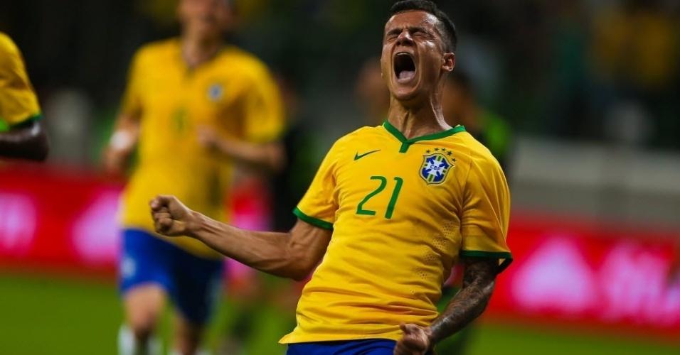 Philippe Coutinho comemora após marcar o primeiro gol da seleção brasileira em amistoso contra o México, neste domingo (7)