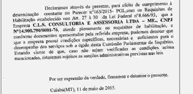 O documento é assinado por Oscar Bezerra (PSB), que assume toda a responsabilidade caso a contratação seja considerada irregular - ALMT