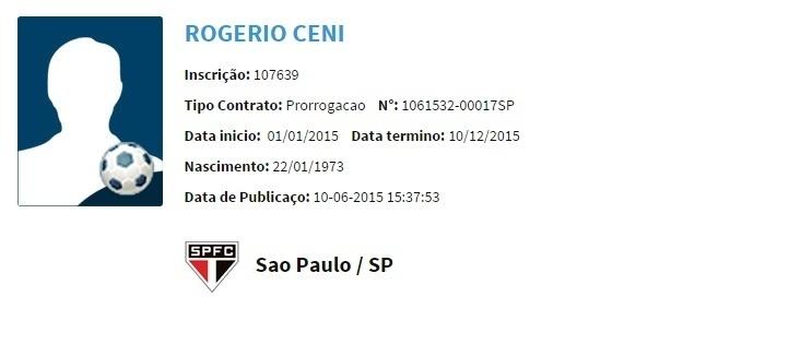 Nome de Rogério Ceni no Boletim Informativo Diário (BID) da CBF