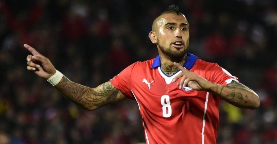 Vidal em ação pelo Chile contra Equador no jogo de abertura da Copa América
