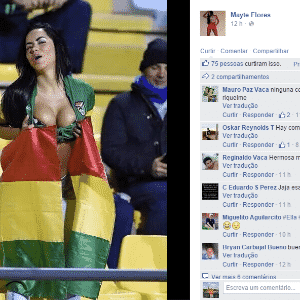 Modelo boliviana Mayte Flores exibe sua sensualidade no jogo entre Bolívia e México pela 1ª rodada da Copa América - Reprodução/Facebook