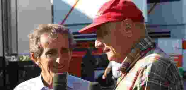 Prost (esq) entrevista Niki Lauda - Ico Ramos/UOL