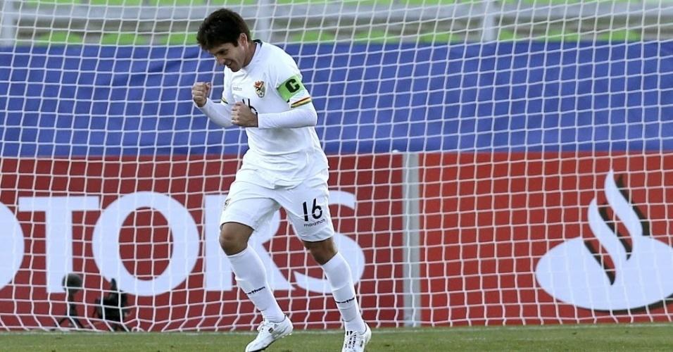 Ronald Raldes comemora gol de abriu o placar para a Bolívia contra o Equador