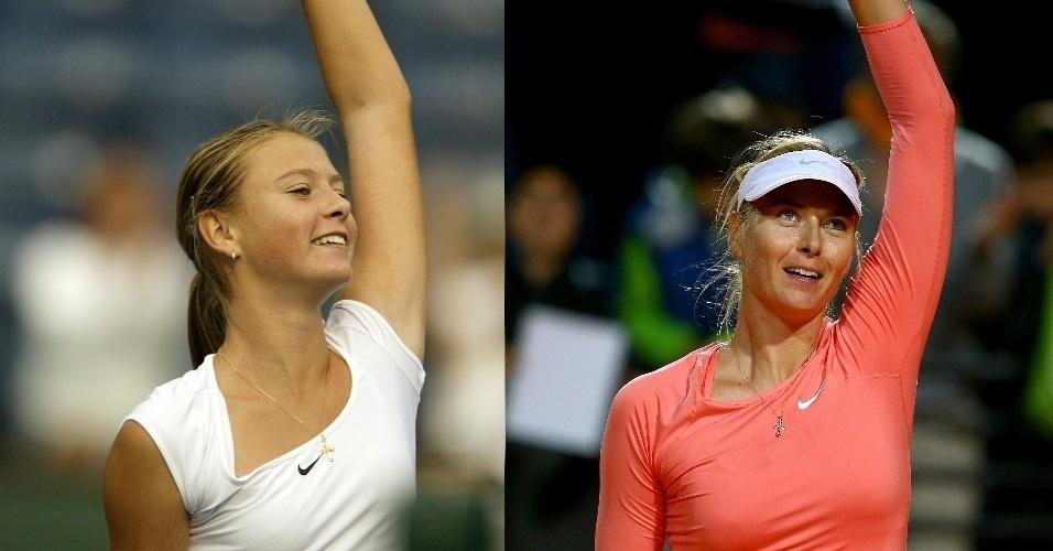 Aos 15 anos, Sharapova estava na segunda temporada de profissional na imagem da esquerda feita em 2002. Hoje a russa continua saudando público da mesma maneira