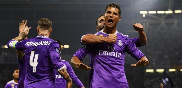 Cristiano Ronaldo comemora gol na decisão da Liga dos Campeões