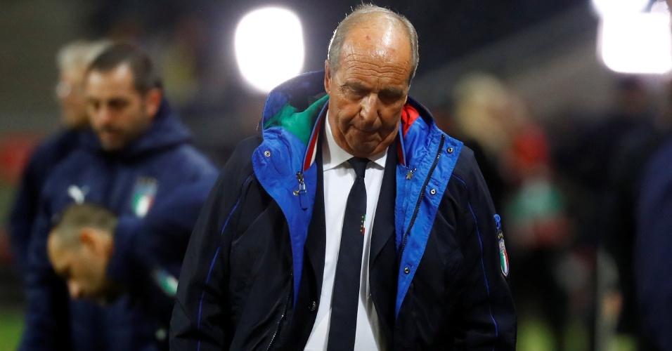 O técnico da Itália, Gian Piero Ventura, durante jogo contra a Suécia