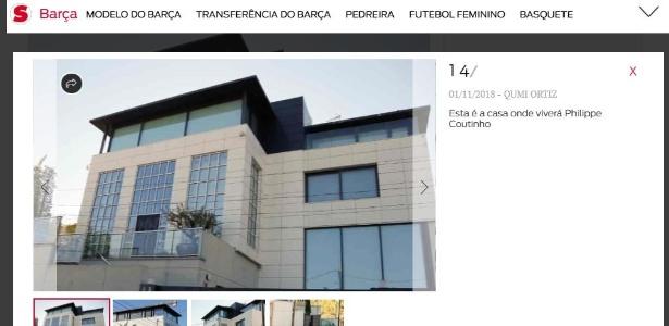 """O jornal """"Sport"""" divulgou imagens da nova casa de Coutinho"""