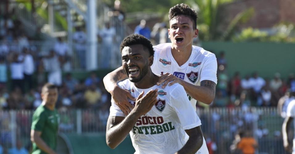Caio comemora após empatar para o Fluminense contra o Boavista