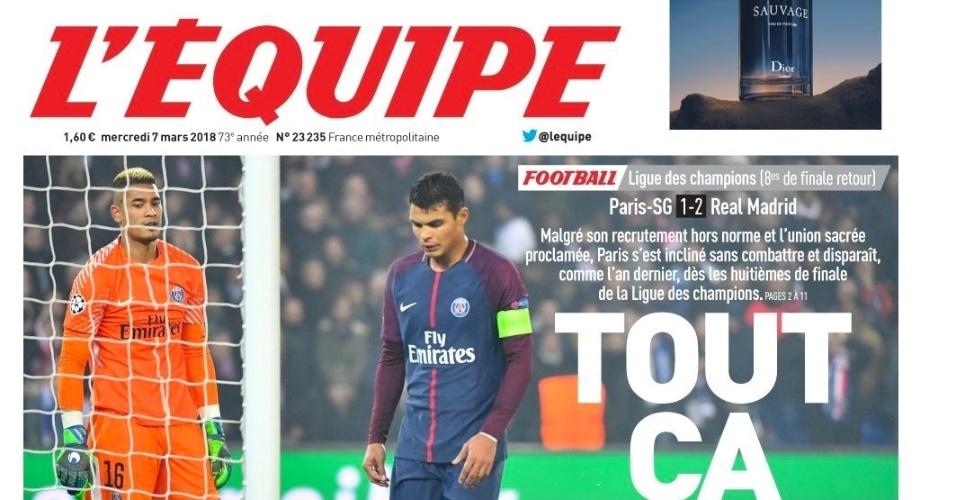 L'Equipe: Apesar do elenco extraordinário e da união proclamada, Paris Saint-Germain perdeu sem lutar e desapareceu como no ano passado nas oitavas de final da Liga dos Campeões