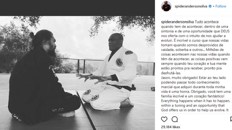 Anderson Silva treina com ator Jason Momoa - Reprodução