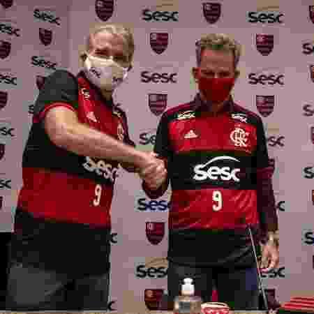 Bernardinho e Landim: acordo e renúncia - Marcelo Cortes / Flamengo