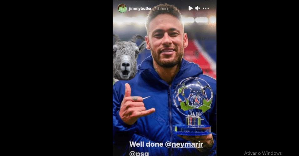 Jimmy Butler dá parabéns para Neymar