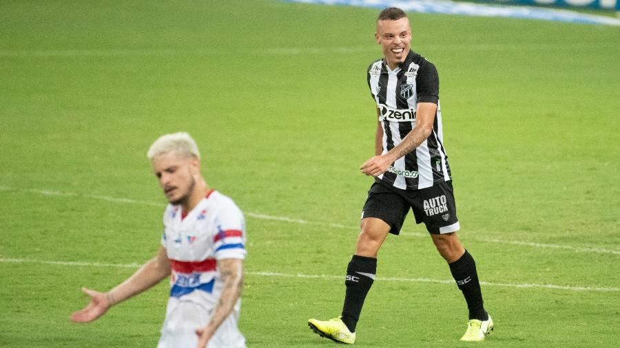 Kelvyn marcou o primeiro gol do Ceará contra o Fortaleza, pela 14ª rodada do Brasileirão - Kely Pereira/AGIF