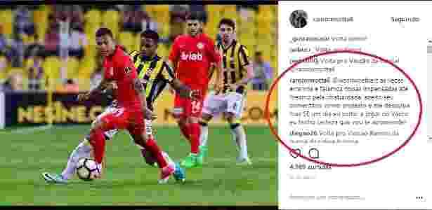 Ramon pede desculpas a torcedor do Vasco em seu Instagram - Instagram / Ramon - Instagram / Ramon