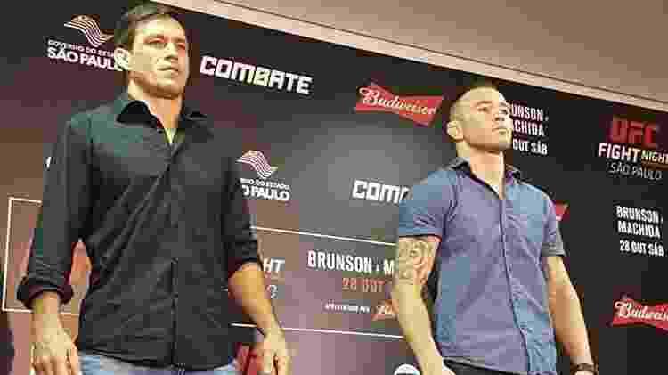 Demian Maia e Colby Covington posam antes do UFC São Paulo - Brunno Carvalho/UOL - Brunno Carvalho/UOL