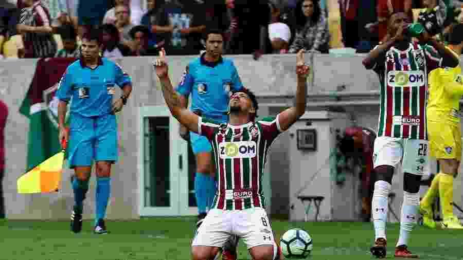 Douglas comemora gol que abriu o placar para o Fluminense contra a Ponte no Brasileirão de 2017 - Nelson Perez/Fluminense