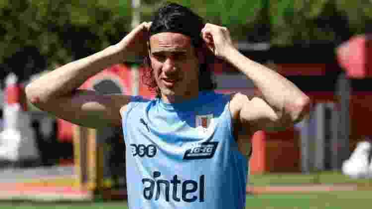 Uruguaio no treino de ontem da seleção, no estádio do Barradão - Divulgação/@Uruguay