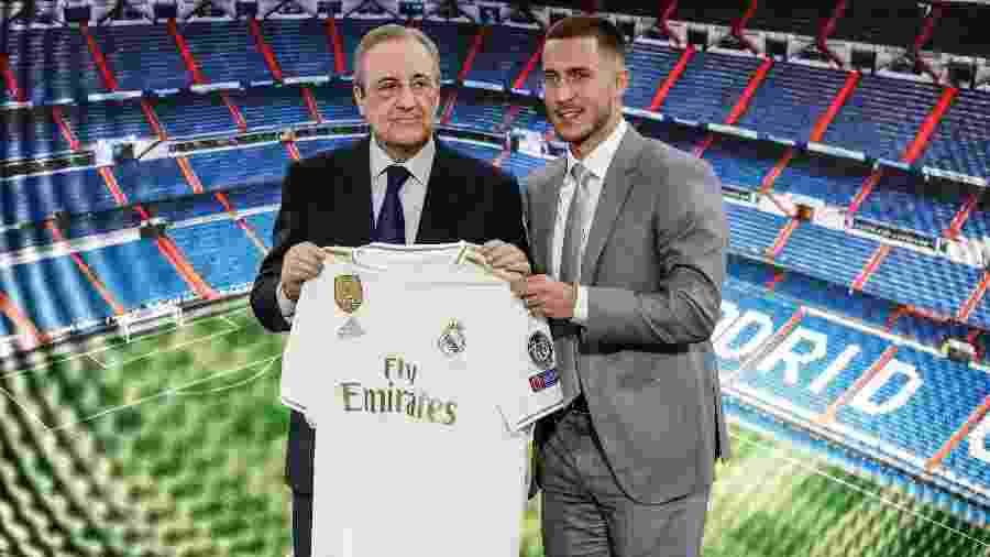 Hazard é apresentado pelo presidente do Real Madrid, Florentino Pérez - Leonardo Prieto/Action Plus/Getty Images