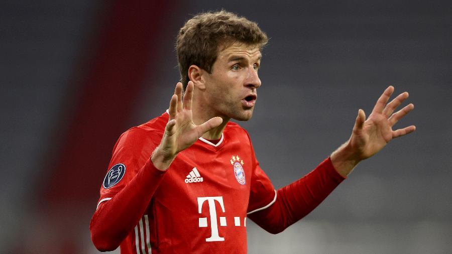 Thomas Muller durante jogo do Bayern contra o Atlético de Madri pela Liga dos Campeões -  Alexander Hassenstein/Getty Images