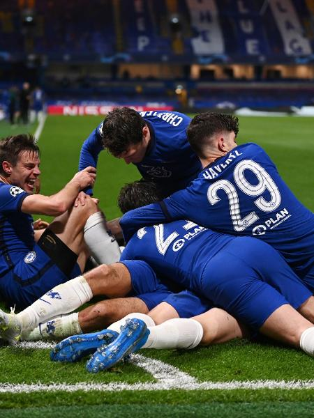 Jogadores do Chelsea comemoram gol contra o Real e classificação para a final da Champions - Darren Walsh/Chelsea FC via Getty Images