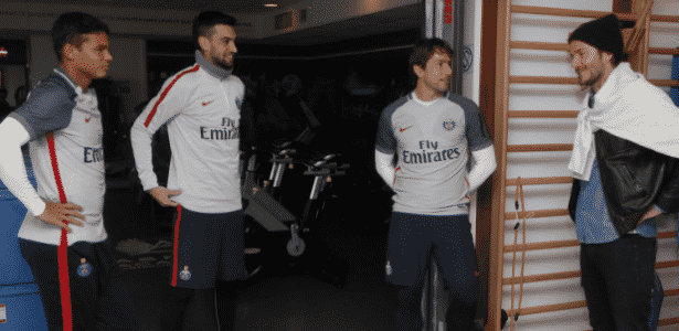 David Beckham visitou o Paris Saint-Germain nesta segunda-feira - Reprodução/Twitter