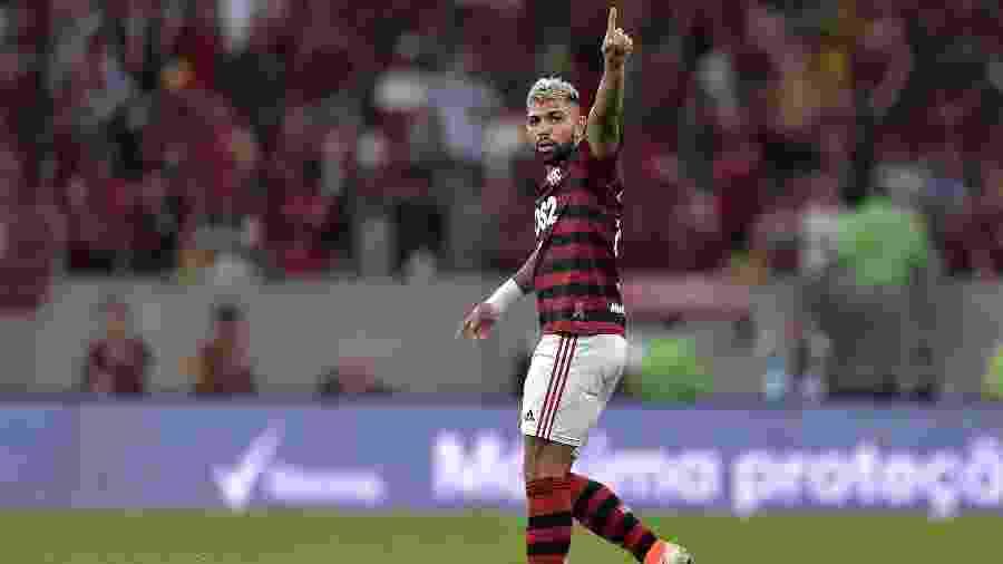 Gabigol comemora seu gol para o Flamengo contra o Emelec pela Libertadores - Thiago Ribeiro/AGIF