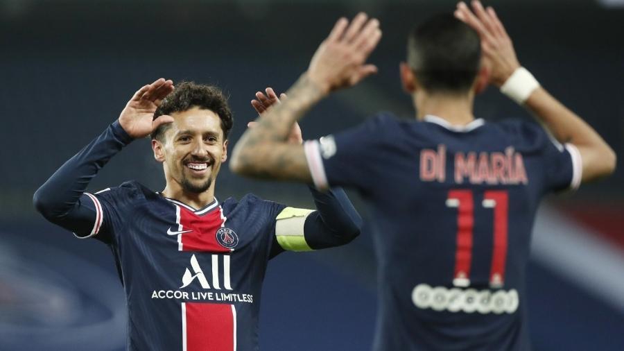 Marquinhos e Di María comemoram primeiro gol do PSG - REUTERS/Benoit Tessier