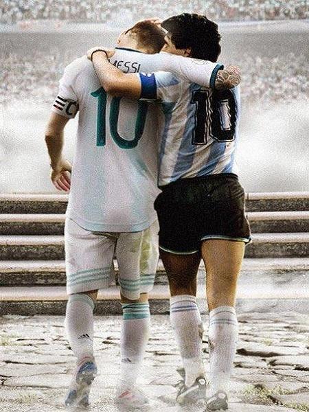 Messi e Maradona abraçados no Olimpo argentino - Reprodução web