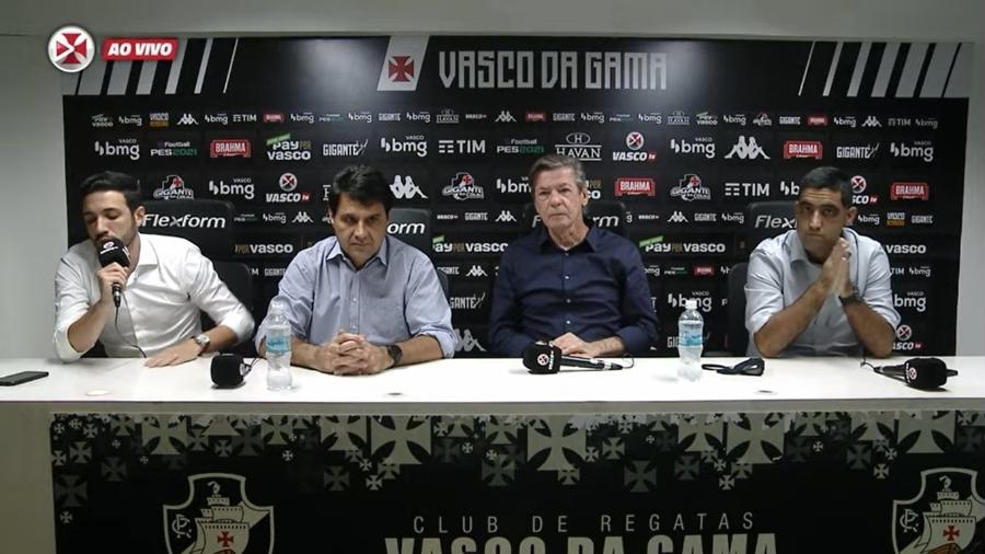 Diretoria do Vasco concedeu entrevista coletiva em meio à crise que o clube atravessa - Reprodução VascoTV