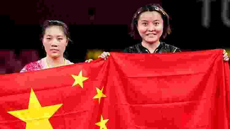 Wenjuan Huang e Jingian Mao, do tênis de mesa da China - John Walton - PA Images/PA Images via Getty Images - John Walton - PA Images/PA Images via Getty Images