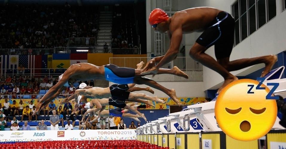 ZZZZZZZZZZZZZZ.... O haitiano Frantz Dorsainvil faz tempo de amador nos 50 m e se emociona no Pan. O