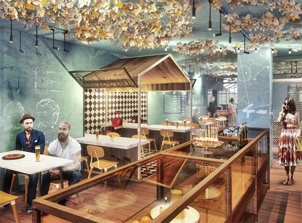 Esboço do Bellavista del Jardín del Norte, restaurante em Barcelona que terá como um dos sócios o atacante Lionel Messi