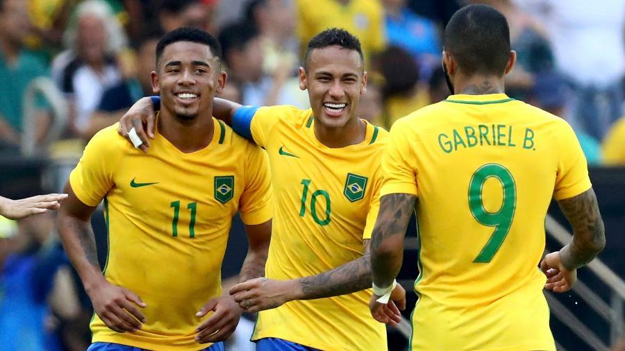 Gabriel Jesus, Neymar e Gabigol comemoram gol marcado contra Honduras na Rio-2016 - Leonhard Foeger/Reuters