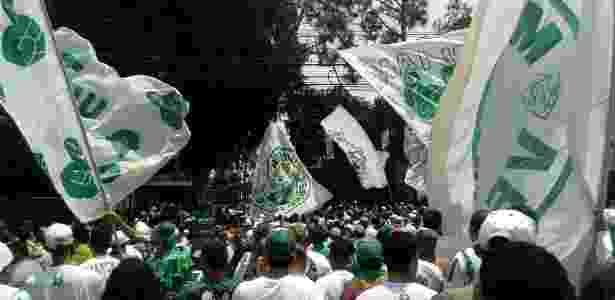 Torcida do Palmeiras faz a festa na Academia de Futebol - José Edgar de Matos/UOL - José Edgar de Matos/UOL