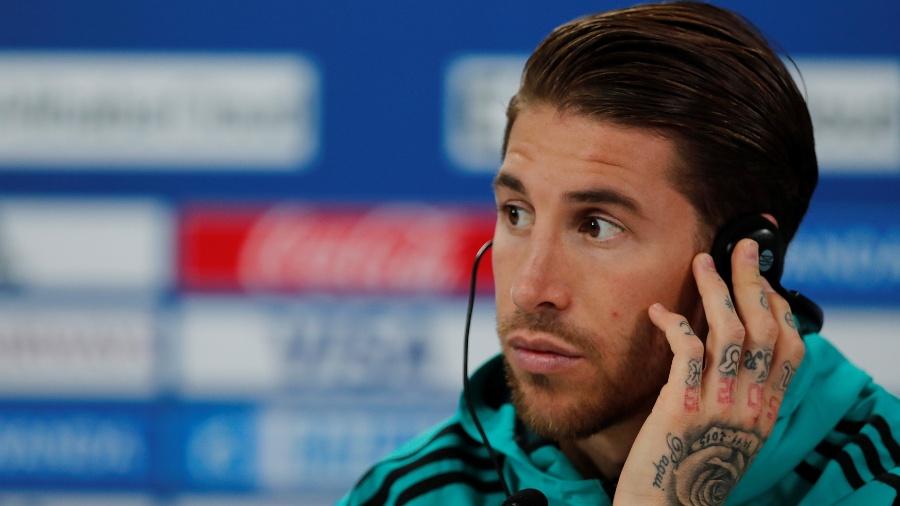 Sergio Ramos concede entrevista coletiva um dia antes da final do Mundial de Clubes - REUTERS/Amr Abdallah Dalsh