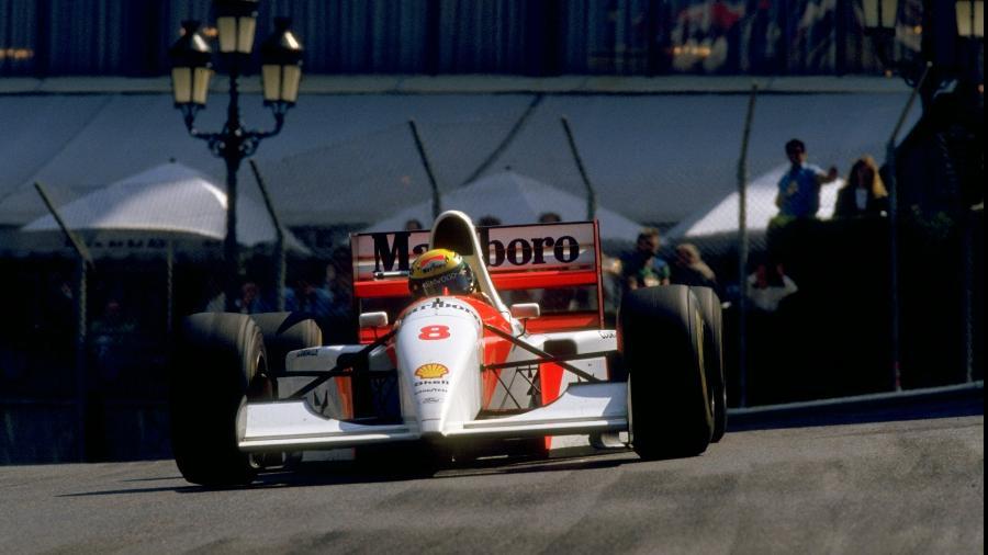 Ayrton Senna, durante o Grande Prêmio de Mônaco de 1993 - Pascal Rondeau/Allsport