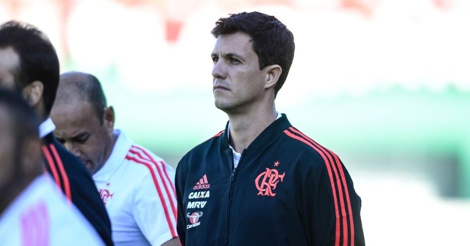 Barbieri, técnico do Flamengo, antes de partida contra a Chapecoense pelo Campeonato Brasileiro