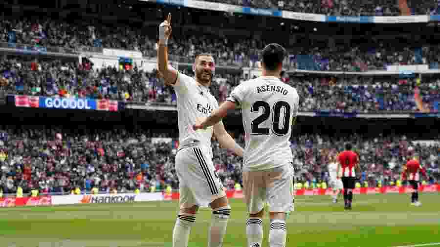 Benzema celebra gol diante do Bilbao - REUTERS/Susana Vera
