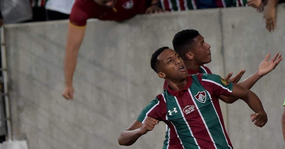 Joao Pedro, do Fluminense, comemora seu gol durante partida contra o Cruzeiro pela Copa do Brasil 2019