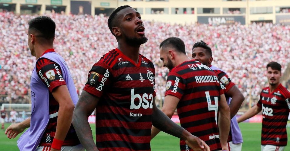 Gerson comemora conquista da Libertadores pelo Flamengo