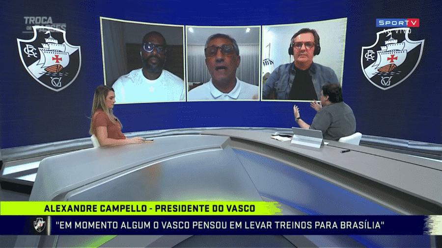 Alexandre Campello e Rodrigo Rodrigues discutem durante o Troca de Passes - Reprodução/SporTV