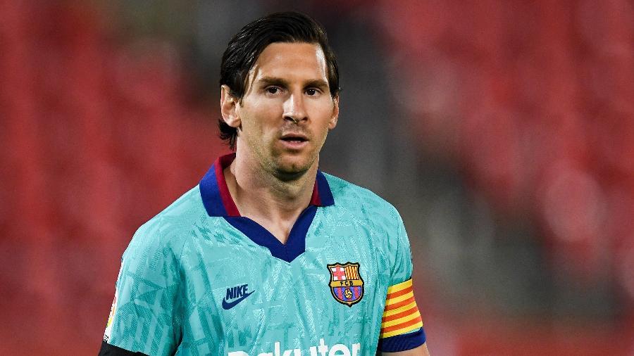 Lionel Messi, durante partida do Barcelona contra o Mallorca, em 13/6/2020 - David Ramos/Getty Images