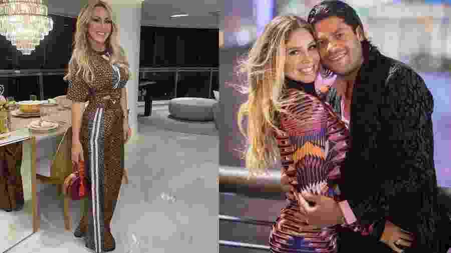 Iran Ângelo (à esq.) e o ex-marido Hulk Paraíba com a noiva, Camila Ângelo (à dir.) - Fotos Instagram/Montagem UOL